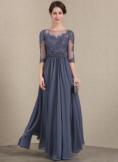 A-Linie/Princess-Linie U-Ausschnitt Bodenlang Chiffon Spitze Kleid für die Brautmutter mit Perlstickerei Pailletten (008143370)