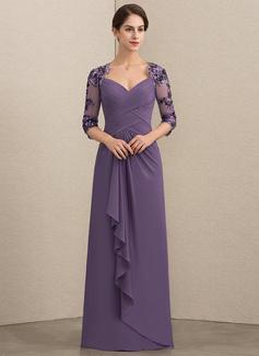 A-Linie/Princess-Linie Schatz Bodenlang Chiffon Pailletten Kleid für die Brautmutter mit Gestufte Rüschen (008152147)