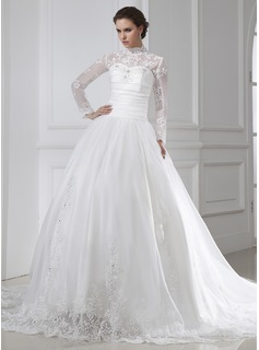 Ball-Gown High Neck Chapel Train Organza Wedding Dress With Ruffle Lace Beading (002015462)