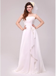 A-Line/Princess Floor-Length Chiffon Wedding Dress With Beading Appliques Lace Cascading Ruffles (002014023)