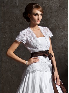 Short Sleeve Lace Wedding Wrap (013012557)