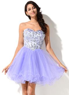 Forme Princesse Bustier en coeur Court/Mini Organza Tulle Charmeuse Robe bal d'étudiant avec Emperler (018046231)