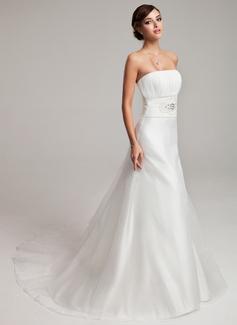A-Line/Princess Strapless Chapel Train Organza Wedding Dress With Ruffle Beading (002001245)