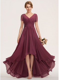 A-Line V-neck Asymmetrical Chiffon Lace Bridesmaid Dress With Ruffle (007190720)