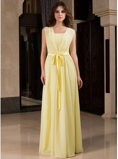 A-Line/Princess V-neck Floor-Length Chiffon Bridesmaid Dress With Ruffle Bow(s) (007027453)