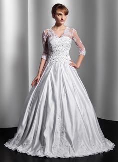 Forme Marquise Col V Longueur ras du sol Satiné Robe de mariée avec Dentelle Emperler Sequins (002014755)