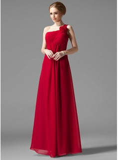 Empire One-Shoulder Floor-Length Chiffon Bridesmaid Dress With Ruffle Flower(s) (007013957)