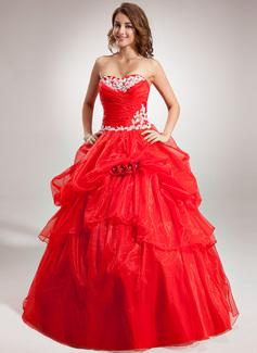 Duchesse-Linie Herzausschnitt Bodenlang Organza Quinceañera Kleid (Kleid für die Geburtstagsfeier) mit Rüschen Applikationen Spitze Blumen (021016386)