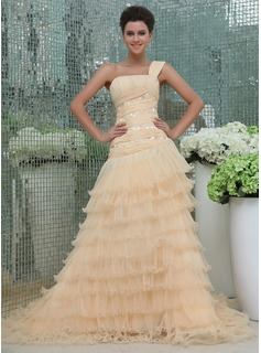Robe de Bal de Promo bal Une epaule Trane Chapelle Mousseline Tulle Robe de Bal de Promo avec Ondul Dentelle Brod (018017391)