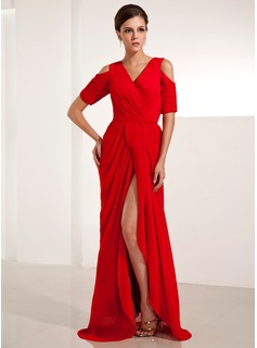 Sheath/Column V-neck Sweep Train Chiffon Evening Dress With Ruffle Split Front (017014234)