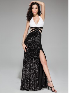 Trumpet/Mermaid Halter Sweep Train Sequined Prom Dress With Lace Beading Split Front (018046222)