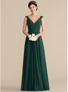 A-Line/Princess V-neck Floor-Length Chiffon Lace Bridesmaid Dress With Ruffle (007165847)