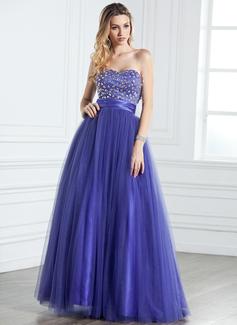 A-Linie/Princess-Linie Herzausschnitt Bodenlang Tüll Quinceañera Kleid (Kleid für die Geburtstagsfeier) mit Rüschen Perlen verziert (021005316)
