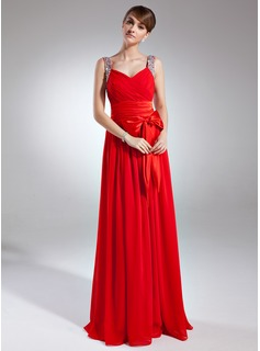 A-Line/Princess V-neck Floor-Length Chiffon Charmeuse Holiday Dress With Ruffle Beading Sequins Bow(s) (020025939)