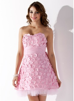 A-Line/Princess Sweetheart Short/Mini Taffeta Homecoming Dress With Beading Flower(s) Bow(s) (022021018)