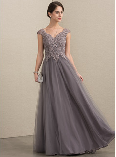 A-Line/Princess V-neck Floor-Length Tulle Lace Mother of the Bride Dress With Sequins (008164102)