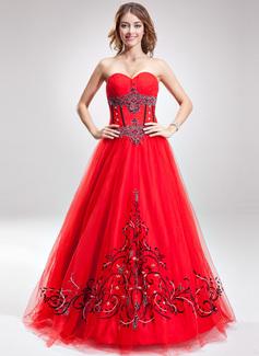 A-Linie/Princess-Linie Schatz Bodenlang Tüll Quinceañera Kleid (Kleid für die Geburtstagsfeier) mit Bestickt Perlstickerei Pailletten (021016890)