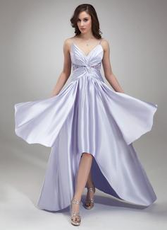 Forme Princesse Col V Traîne asymétrique Charmeuse Robe bal d'étudiant avec Plissé Emperler (018020957)