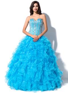 Duchesse-Linie Herzausschnitt Bodenlang Organza Quinceañera Kleid (Kleid für die Geburtstagsfeier) mit Perlen verziert Pailletten (021055197)
