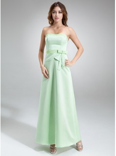 A-Line/Princess Sweetheart Floor-Length Satin Bridesmaid Dress With Beading (007001759)