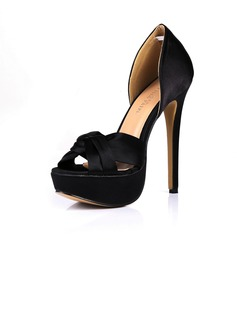Women's Silk Like Satin Stiletto Heel Sandals Platform Peep Toe With Bowknot shoes (085026447)
