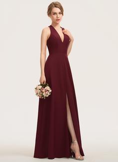 A-Line V-neck Floor-Length Stretch Crepe Bridesmaid Dress With Split Front (007190676)