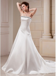 A-Line/Princess Strapless Chapel Train Satin Wedding Dress With Embroidery Beading (002000089)