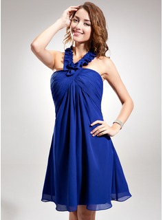 Empire Halter Knee-Length Chiffon Homecoming Dress With Ruffle Cascading Ruffles (022020864)