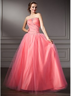 Ball-Gown Strapless Floor-Length Tulle Prom Dress With Ruffle Beading Sequins (018112917)