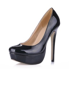 Lackskinn Stilettklack Pumps Plattform Stängt Toe skor (085020589)