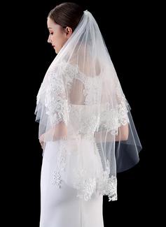 Dos capas Con Aplicación de encaje Yema del dedo velos de novia con Encaje (006201028)