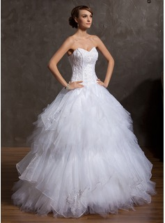 Ball-Gown Sweetheart Floor-Length Organza Satin Tulle Wedding Dress With Embroidery Beading (002014871)