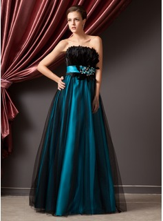 Ball-Gown Strapless Floor-Length Charmeuse Tulle Prom Dress With Beading Feather Sequins (018014241)