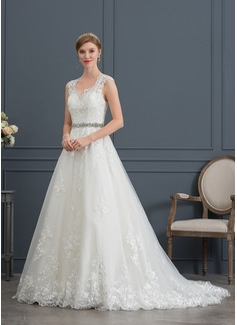 Ball-Gown/Princess V-neck Court Train Tulle Wedding Dress (002171952)