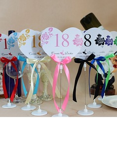 Personalized Heart Shaped Paper Table Number Cards With Holder With Ribbons (Set of 10) (118032232)