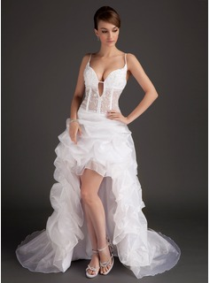 Robe de Bal de Promo Ligne-A/Princesse Col V Assymetrique Organza Robe de Bal de Promo avec Dentelle (018015507)