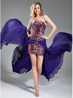 Robe de Bal de Promo Gaine Une epaule Court/Mini Mousseline Tulle Robes de Bal de Promo avec Brod (018018867)