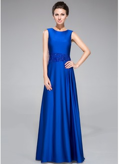 Etui-Linie U-Ausschnitt Bodenlang Jersey Kleid für die Brautmutter mit Perlen verziert (008042315)