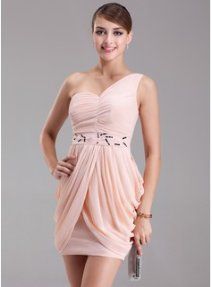 Sheath/Column One-Shoulder Short/Mini Chiffon Cocktail Dress With Ruffle Beading (016005842)