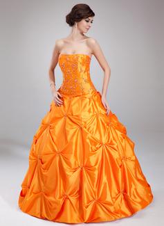 Duchesse-Linie Herzausschnitt Bodenlang Taft Quinceañera Kleid (Kleid für die Geburtstagsfeier) mit Rüschen Perlen verziert (021002891)