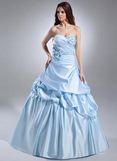 Duchesse-Linie Herzausschnitt Hof-schleppe Satin Quinceañera Kleid (Kleid für die Geburtstagsfeier) mit Rüschen Perlen verziert Blumen (021015628)