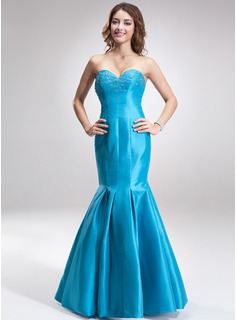 Mermaid Sweetheart Floor-Length Taffeta Bridesmaid Dress With Beading (007000815)