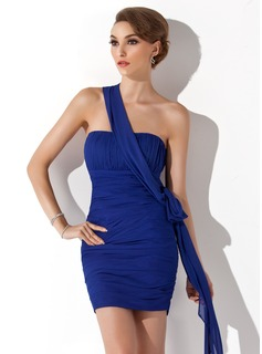 Sheath/Column One-Shoulder Short/Mini Chiffon Prom Dress With Ruffle (018135282)
