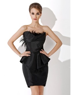 Robe de Cocktail Gaine Col roul Mi-longues Taffetas Robe de Cocktail avec Ondul ptales (016021161)