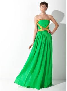 A-Line/Princess Strapless Floor-Length Chiffon Prom Dress With Ruffle Sash Sequins (018015058)