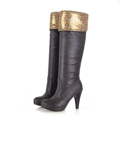 Women's Leatherette Stiletto Heel Pumps Platform Knee High Boots With Animal Print shoes (088015428)