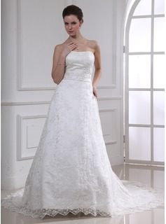 A-Line/Princess Sweetheart Chapel Train Satin Lace Wedding Dresses With Lace Sashes Beadwork (002000