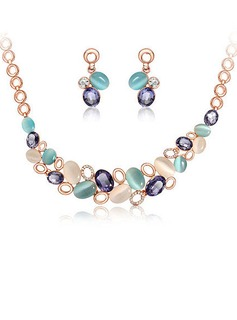Colourful Alloy Czech Stones Opal Women's Jewelry Sets (137053768)