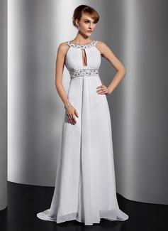 A-Linie/Princess-Linie U-Ausschnitt Hof-schleppe Chiffon Abendkleid mit Rüschen Perlstickerei Pailletten (017014814)