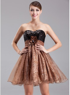 Empire Sweetheart Short/Mini Organza Charmeuse Sequined Cocktail Dress With Ruffle Beading Flower(s) (016008345)